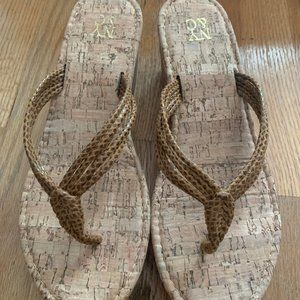 NY&CO Cork Pattern Thong Wedge Sandals